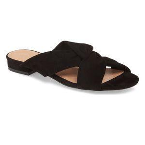 NWOT Halogen Andre Black Suede Slide Sandals